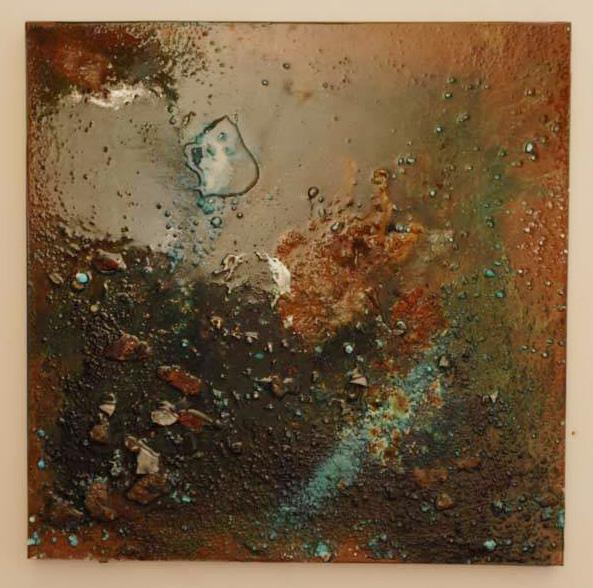 Arte Chimica dei Metalli - Acidatura su lastra di ferro galassia