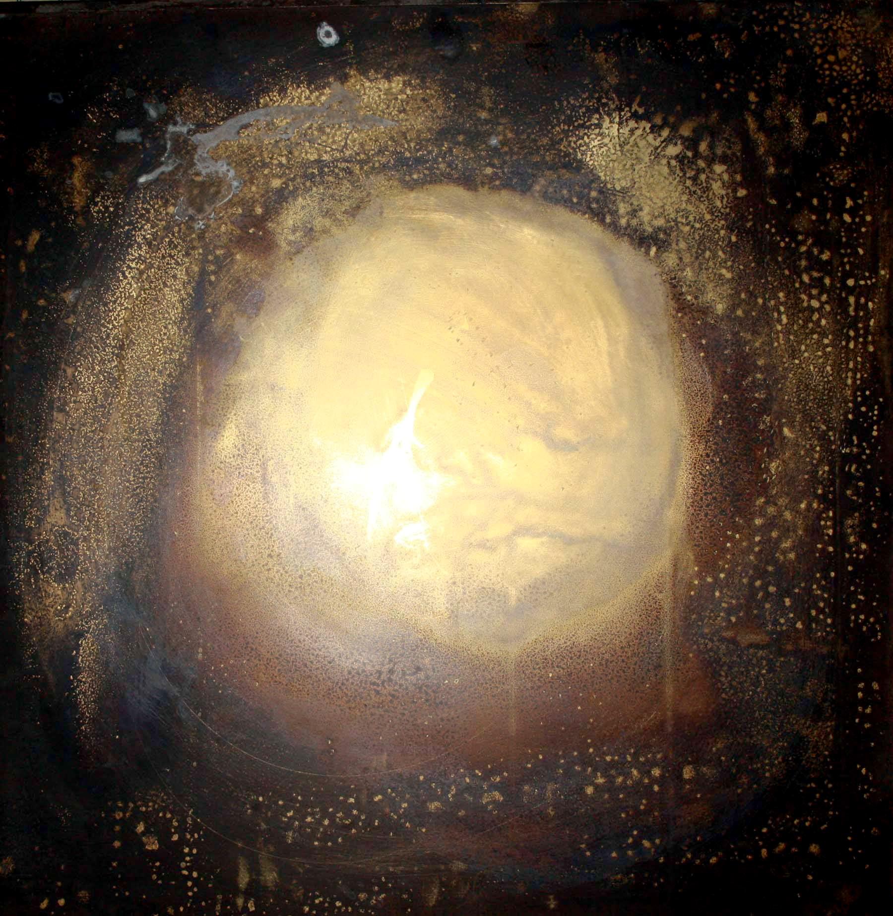 Arte Chimica dei Metalli - Acidatura su lastra di ottone polveri la supernova