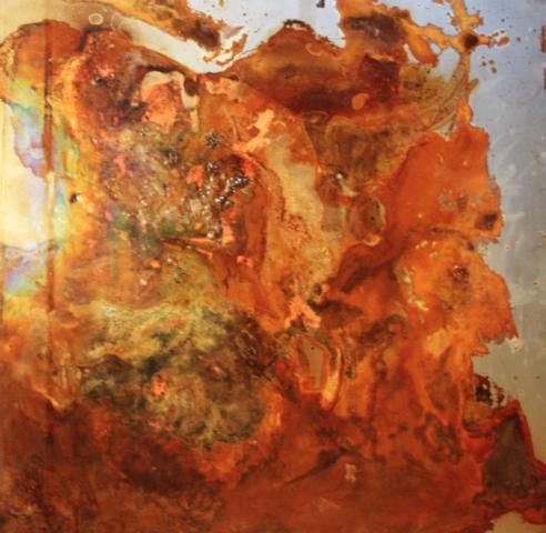 Arte Chimica dei Metalli - Rameoso acidatura con venature rameiche protette da resine