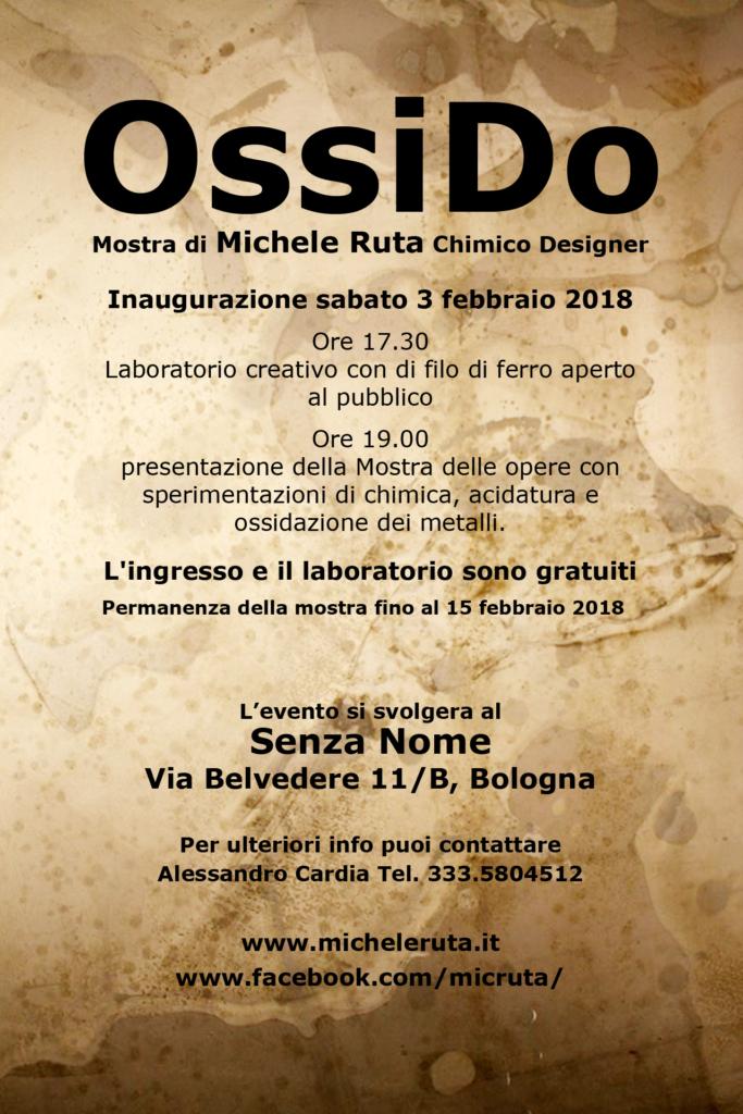 Ossido - Mostra a Bologna delle opere di Michele Ruta Chimico Designer